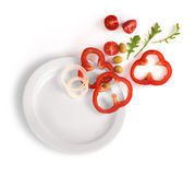 Vegetables on a white plate Royalty Free Stock Photo