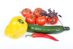 Vegetables on white Stock Images