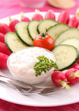 Vegetables and white sauce Stock Photo