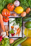 Vegetables on a white table, top view Stock Photography
