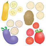Vegetables whole and sliced into pieces Royalty Free Stock Photography