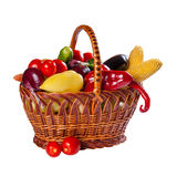 Vegetables in wicker basket Royalty Free Stock Photo