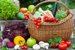 Vegetables in wicker basket Stock Image