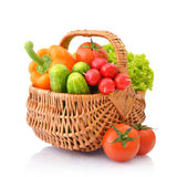 Vegetables in the wicker basket Royalty Free Stock Image