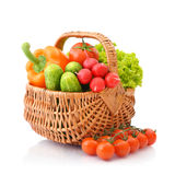 Vegetables in the wicker basket Royalty Free Stock Photography