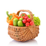Vegetables in the wicker basket Stock Photo