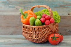 Vegetables in the wicker basket Stock Image
