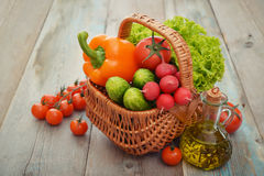 Vegetables in the wicker basket Royalty Free Stock Images