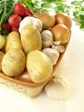 Vegetables in wicker, closeup Stock Images