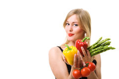 Vegetables and woman close-up Stock Photos