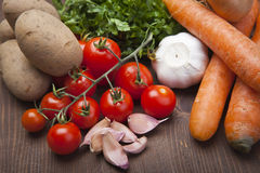 Vegetables on a Wood Background Royalty Free Stock Photo
