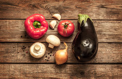 Vegetables on wood background - autumn harvest Royalty Free Stock Photo