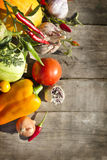 Vegetables on a wood background Stock Photo