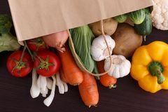 Vegetables on wood background with space for recipe. Stock Photography