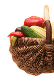 Vegetables in wood basket. Royalty Free Stock Images