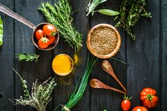 Vegetables and spices Royalty Free Stock Photography