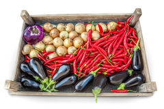 Vegetables. A wood box full fresh of vegetables on a white background Royalty Free Stock Images