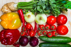 Vegetables on wooden background Stock Image