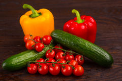 Vegetables on wooden background Stock Photography