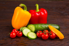 Vegetables on wooden background Royalty Free Stock Photo