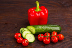 Vegetables on wooden background Royalty Free Stock Images