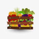 Vegetables in wooden crate Stock Photography
