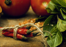 Vegetables on wooden kitchen with spicies, tomato, chilli, green Stock Photography