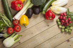 Vegetables on wooden surface Stock Image