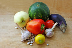 Vegetables on a wooden surface. Stock Images