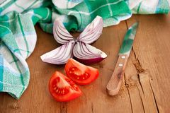 Vegetables on wooden table Stock Photos