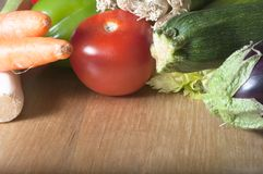 Vegetables on Wooden Table Stock Images