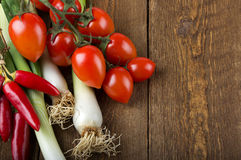 Vegetables on a wooden table. Rustic Stock Photo