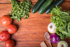 Vegetables on wooden table Stock Image