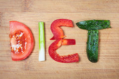 Vegetables and word diet Stock Photography
