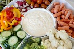 Vegetables and yogurt dip party platter Stock Photos