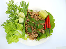 Vegetableson white background. Spicy minced pork and vegetableson white background Royalty Free Stock Photos