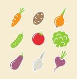 Vegetais ajustados dos ícones ilustração stock