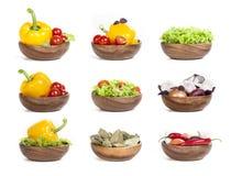 Vegetais ajustados no fundo branco Fotos de Stock