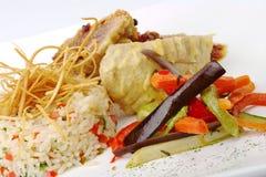 Vegetais, arroz e peixes fotografia de stock
