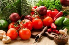 Vegetais, cogumelos e especiarias no despedida Imagem de Stock Royalty Free