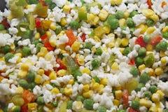 Vegetais congelados com arroz Imagens de Stock