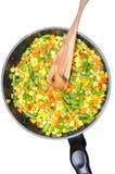 Vegetais cortados cozidos em uma bandeja Fotografia de Stock