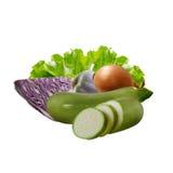 Vegetais: couve, abobrinha, cebola, alho, salada Foto de Stock