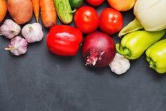 Vegetais crus frescos - pimentas das cebolas, do alho, as verdes e as vermelhas, cenouras, tomates, beterrabas, abobrinha Conceit Imagens de Stock