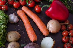 Vegetais crus para a salada ou a sopa Imagens de Stock