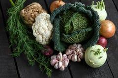Vegetais da mola em um fundo escuro: Couve-de-milão, couve-flor, cebola, alho, couve-rábano, raiz de aipo, aneto Fotografia de Stock Royalty Free