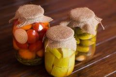 Vegetais de colocação em latas Fotografia de Stock