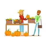 Vegetais de compra do homem de cultivar o suporte, a exploração agrícola de Working At The do fazendeiro e a venda no mercado de  ilustração royalty free
