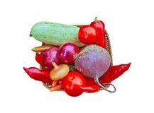 Vegetais de Eco no branco Fotografia de Stock Royalty Free