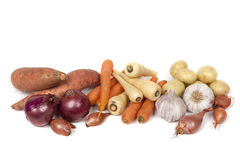 Vegetais de raiz no branco Fotos de Stock Royalty Free